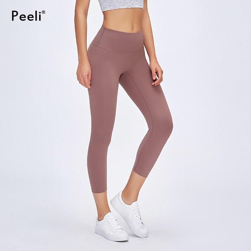 Peeli Naked-Feels Fitness Cpari Pants Women Soft Nylon Gym Yoga Pants Athletic Cropped Trousers Sports Women Calf-Length Pants