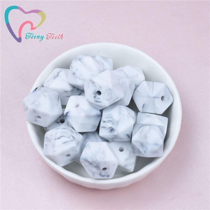 10 pces mármore branco 14-17mm hexágono silicone dentição grânulos macios bebê mordedores sensoriais de enfermagem colares mastigando contas fornecedor