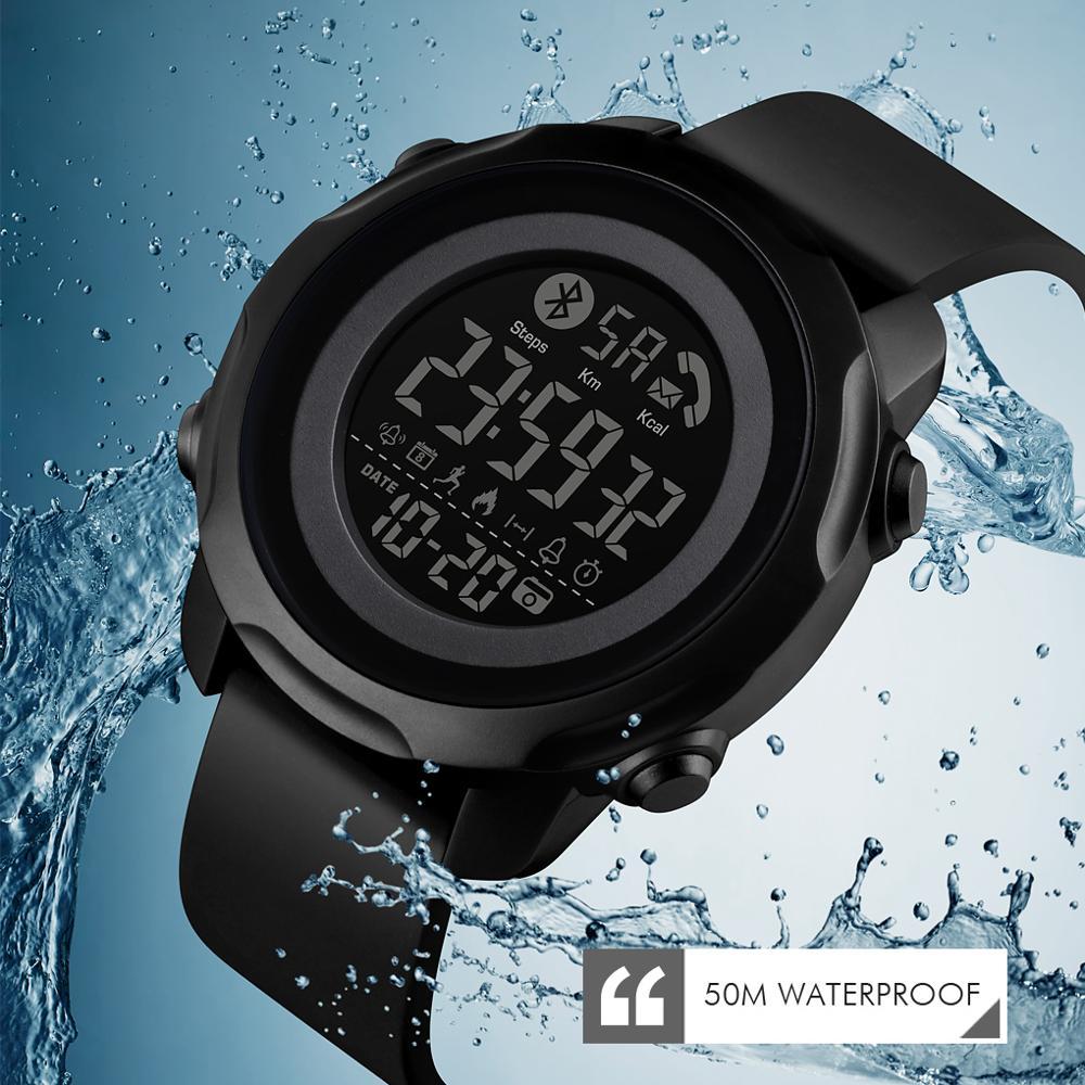 Marca de Luxo Esporte dos Homens Bluetooth à Prova Relógio de Pulso Skmei Relógio Chamada Lembrar Distância Dbluetooth Água Montre Relógios Inteligente App