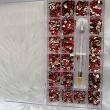 20 Shapes/2000Pcs Rhinestone Nail Box Diamond Nails Art Rhinestones Multi-size Glass Nail Rhinestones For Crystals Strass Charms