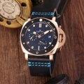 Luxus Marke Neue Männer Automatische Mechanische Sapphire Edelstahl Rose Gold Schwarz Keramik Leder Uhr Power Reserve Leucht