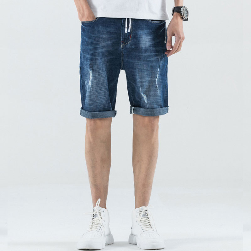 Men Denim Shorts New Fashion Casual Summer Jean Trousers For Man Hot Sale Plus Size Light Blue High Waist Straight