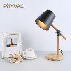 Lampa stołowa Nordic kutego żelaza + sztuka z drewna lampa stołowa do nauki oczu prosta do kreatywnej dekoracji lampa biurkowa z przełącznikiem przyciskowym