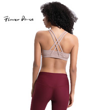 FlowerDance Yoga Bra Sports Crop Top Woman Brassiere Femme Push Up Cotton Stuffed Gym Tank Tops Shock Proof Quick Dry