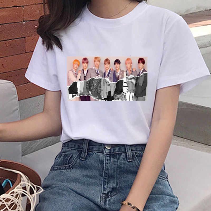 Bulletproofเยาวชนพิมพ์เสื้อยืดนางสาวเกาหลีHarajuku JIN SUGA J HOPE JIMIN V JUNGKOOKการ์ตูนสาวTopเสื้อยืด