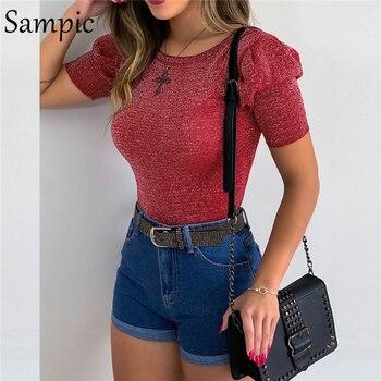 Sampic Rojo Negro cuello redondo Fiesta Club moda brillo lentejuelas brillante Camiseta Casual Camisa corta Puff manga Tops verano