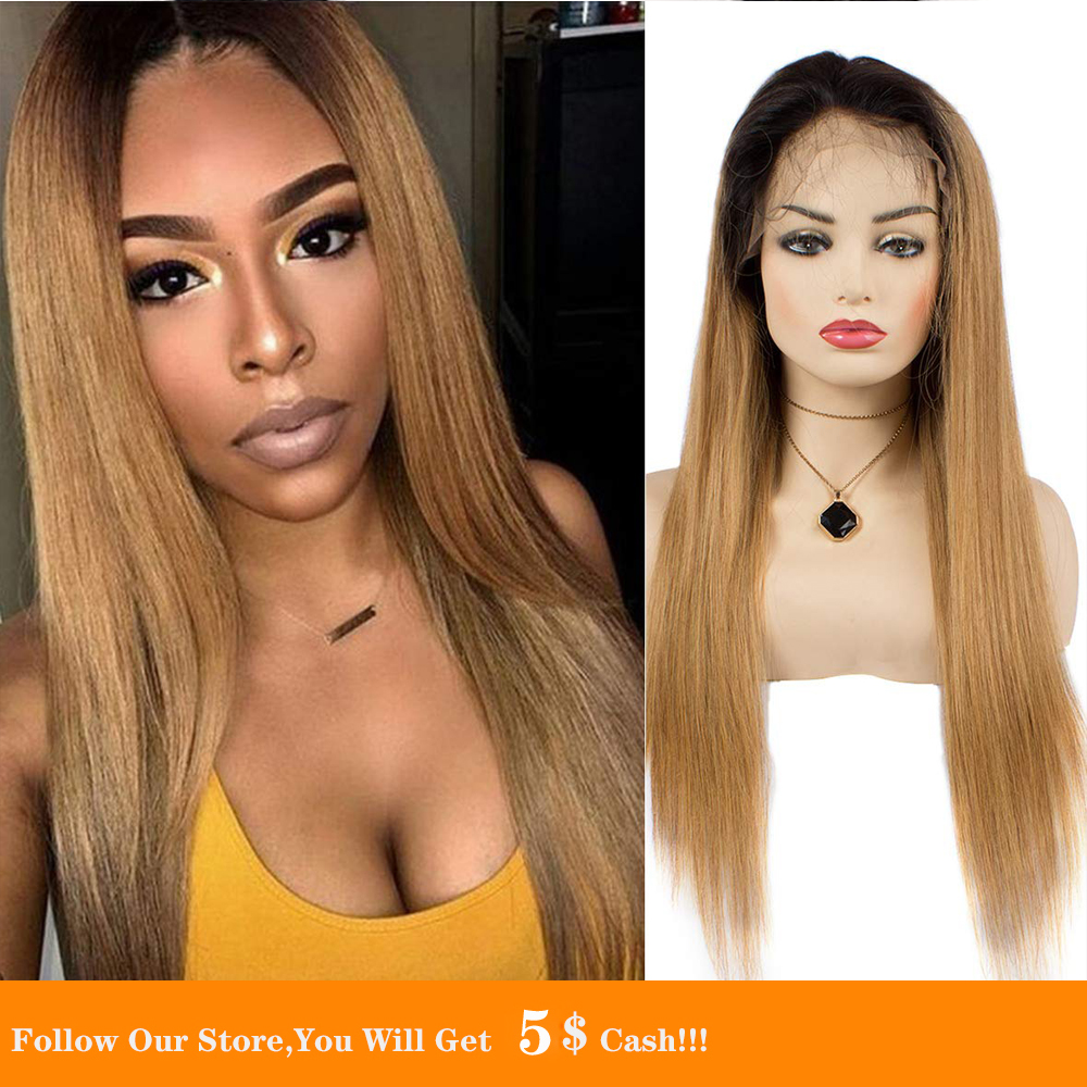 13x4 Straight Ombre Honey Blonde Synthetic Lace Front Wigs For Black/White Women 26inch Transparent Cosplay Heat Resistant Wigs