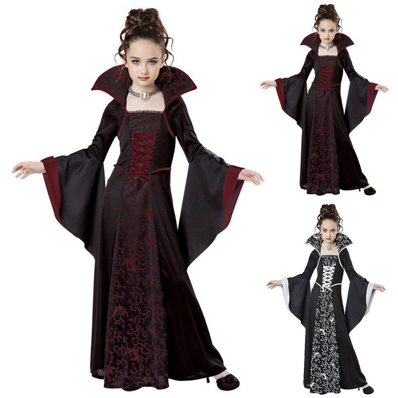 Kids Vampire Cosplay Halloween Dress For Girl Witch Vintage Scary Costume Performance Carnival Party Medieval Day Of The Dead