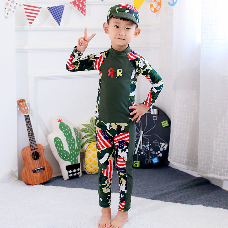 KID'S Swimwear BOY'S Children Warm Quick-Dry Diving Suit Long Sleeve Trousers Split Type Tour Bathing Suit Male Baby Set