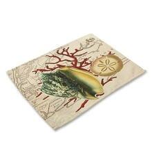Кухонный коврик для столового стола с раковиной и морским рисунком