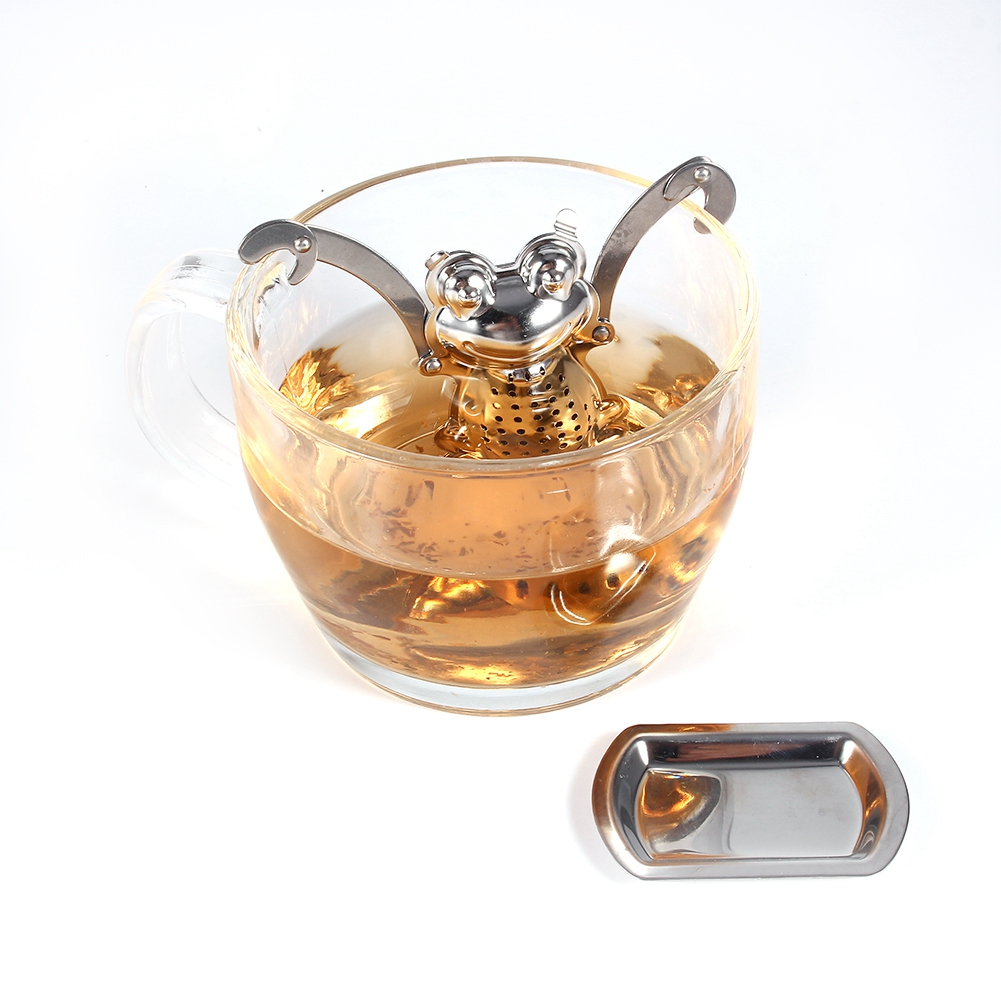 1PC Stainless Steel Frog Shape Tea Strainer Herb Spice Filter Kitchen Accessories Tea Infuser Mug Leaf Loose