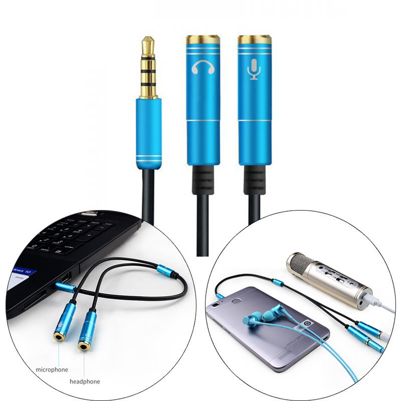 3.5mm Microphone Aux Cable For Laptop Headphone 1 Male 2 Famle Cable Combo Extension Mobile Audio Adapter A Two-point Splitter