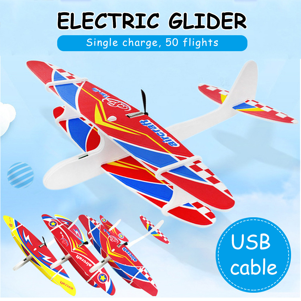2019 DIY Biplane Glider Foam USB Hand Throw Flying Plane Rechargeable Electric Aircraft Model Educational Toys For Children