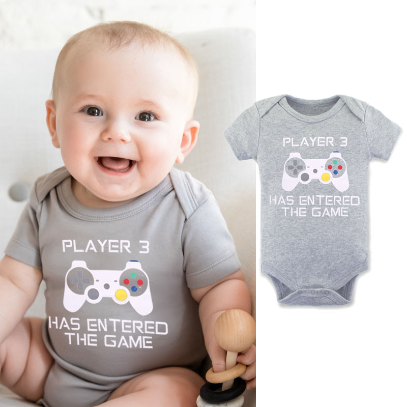 Hot Selling Baby Short Sleeved Romper Triangle Crawling Clothes Player3 Has Entered The Game Printed Letter