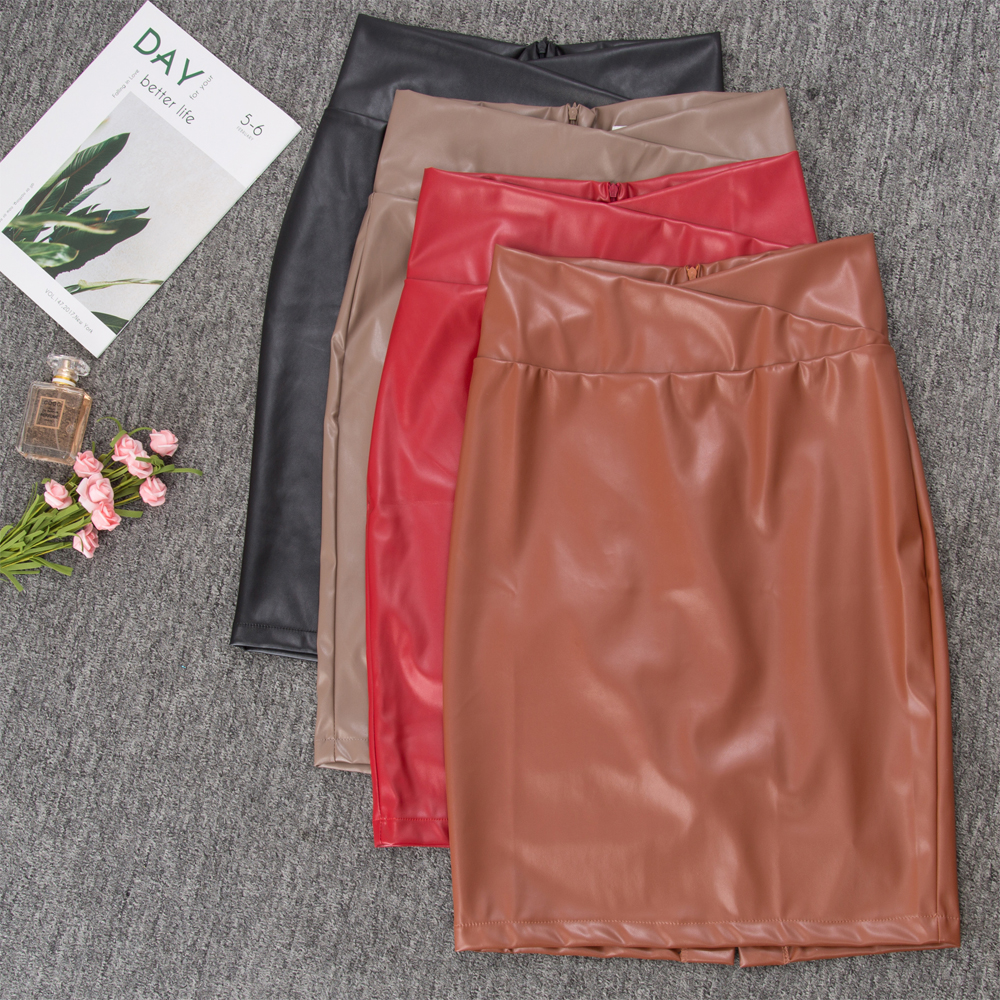 GK Sexy Women PU Leather Pencil Skirt Back Slit Hips-Wrapped Bodycon Skirts Faux Leather High Waist Club Party Midi Skirt Slim
