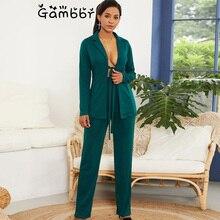 Elegant Work Fashion Pant Suit 2 Piece Set for Women Solid B