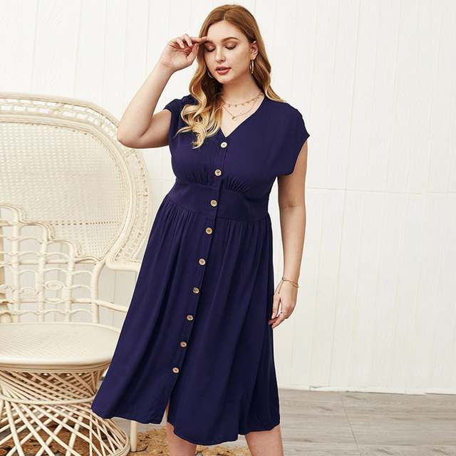 Lovely plus size button down open sleeve dress 3