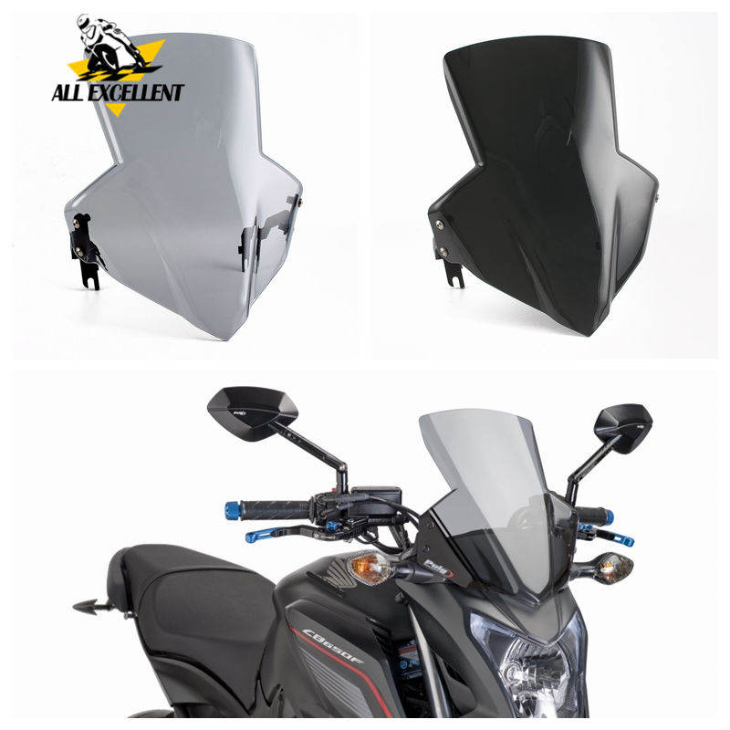 For Honda CB650F CB650FA 2014 2018 CB650 Front Windshield Wind Screen Protector with Bracket Black Smoke ABS plastic|Windscreens & Wind Deflectors|   - title=