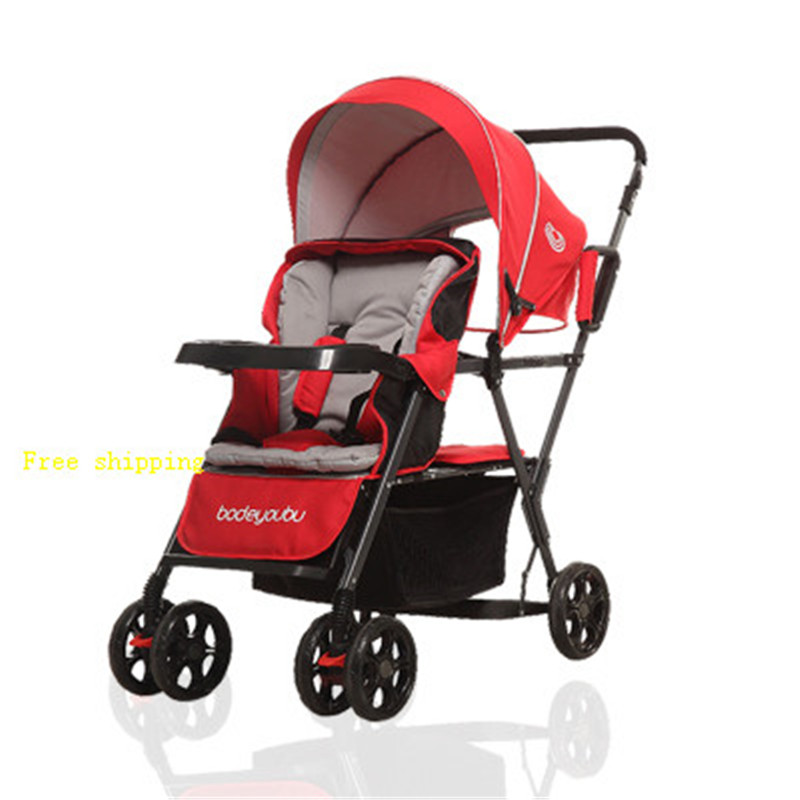 Twin Front And Rear Seat Double Stroller Super Shock Absorber Baby Stroller Light Trolley image
