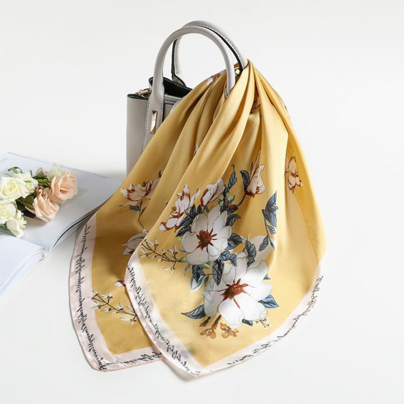2019 Fashion Kerchief Hair Scarf For Women Neckerchief Floral Print Silk Satin Head Scarfs 70*70cm Square Neck Scarves For Lady