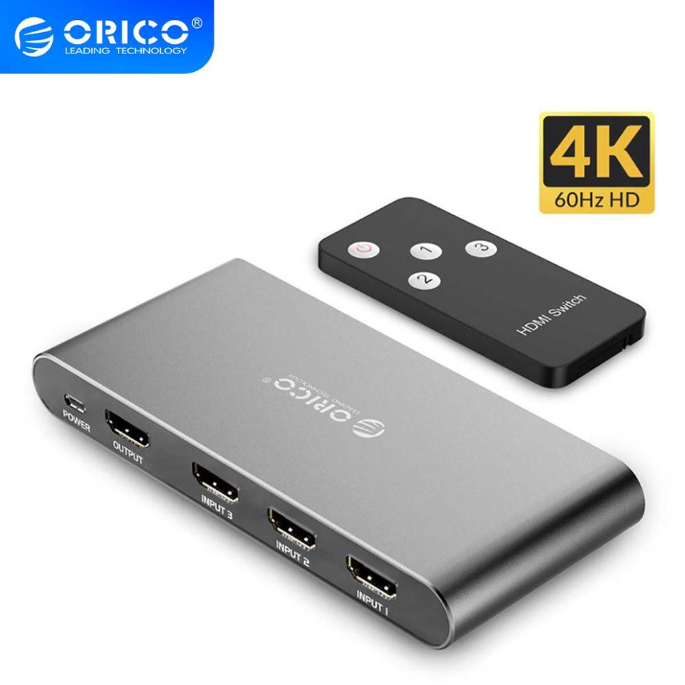 ORICO HDMI Switch Splitter 4K 60Hz HDMI2.0 Switcher 3 Input 1 Output HDMI Splitter For PC Laptop XBOX 360 PS3 PS4 TV Projector