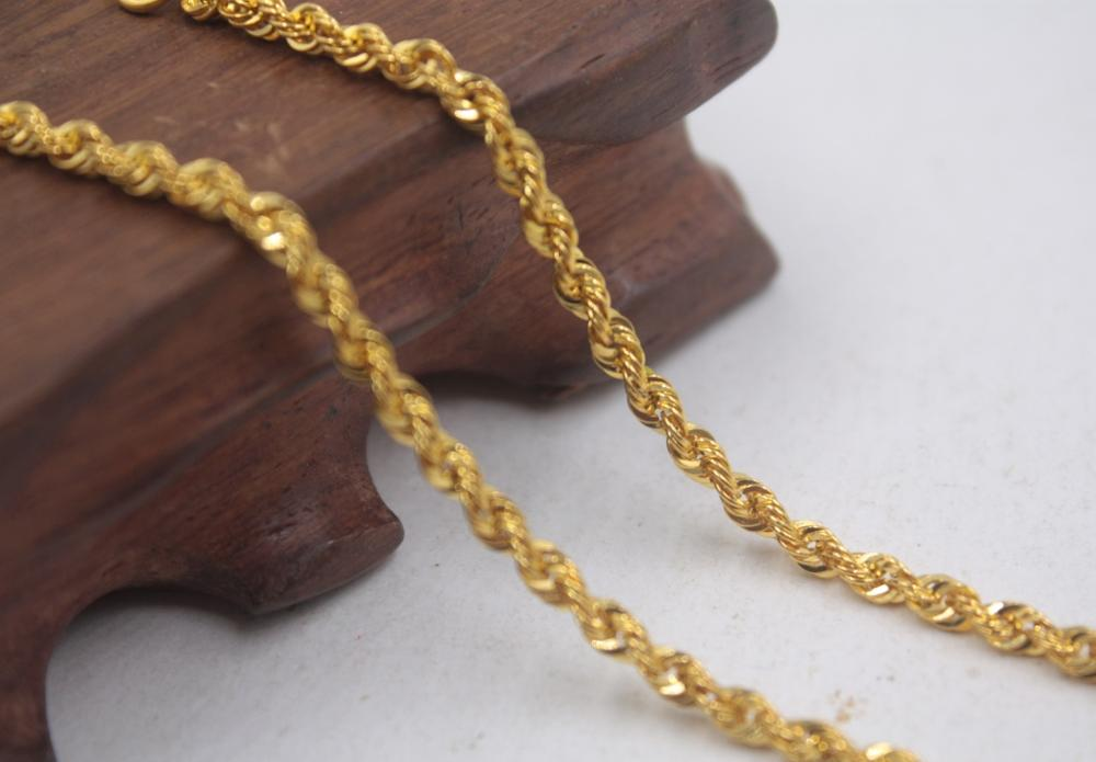 Image 3 - Real Pure 18K Yellow Gold Chain 3mmW Rope Women's Link Wealthy 23.6''L Gift New-in Necklaces from Jewelry & Accessories