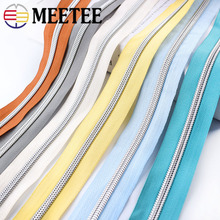Meetee 5/10Meters 5# Color Nylon Coded Zipper Coil Code Zip+ Silder Head for Luggage Clothing DIY Textile Sewing Accessories