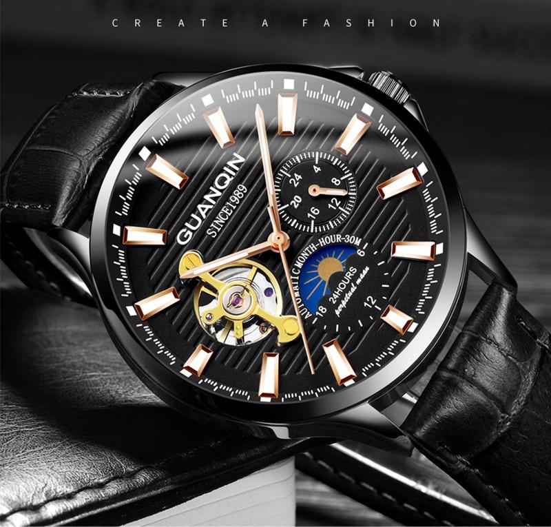 Hf487a483f4134127825b1bbb3298b40aK GUANQIN 2019 automatic watch clock men waterproof stainless steel mechanical top brand luxury skeleton watch relogio masculino