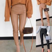 FSDA-pantalones de piel sintética con cremallera para mujer, pantalón informal de color caqui con cremallera, diseño Sexy de cintura alta para otoño e invierno, 2021