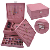 New Style Luxury Jewelry Boxes 3 Layers With Lock Large Space Organizer For Ring And Necklace Velvet Jewelry Holder 4 Color