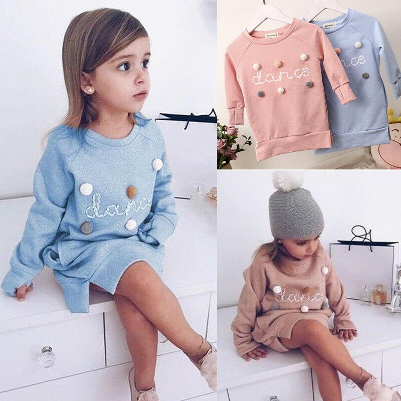 Kids Baby Girl Clothes Dress Sweatshirts Cotton Warm Plush Balls Sweater Kids T-Shirts Dress Sweatshirt For Girls1-5Years