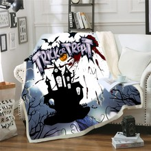 Halloween Blanket Black Castle Cartoon Pumpkin Bat Print Hooded Throw for Kids Sherpa Fleece Warm Sofa Bed