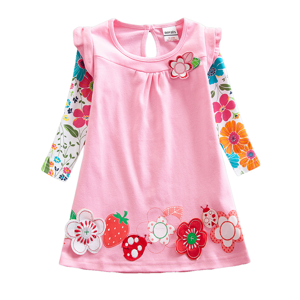 Girls Long Sleeve Dresses Autumn New Cotton Embroidered Dress for Kids Wearing