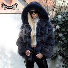 2020 di lusso Naturale Reale di Volpe Blu Cappotto di Pelliccia Con Cappuccio Per Le Donne di Inverno di Spessore Genuino della Pelliccia di Fox Giacca di Pelliccia Femminile Cappotti di Modo caldo