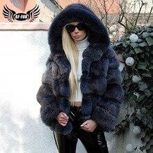 2020 luxe naturel réel bleu renard manteau de fourrure à capuche pour les femmes hiver épais véritable renard fourrure veste femme fourrure manteaux chaud mode