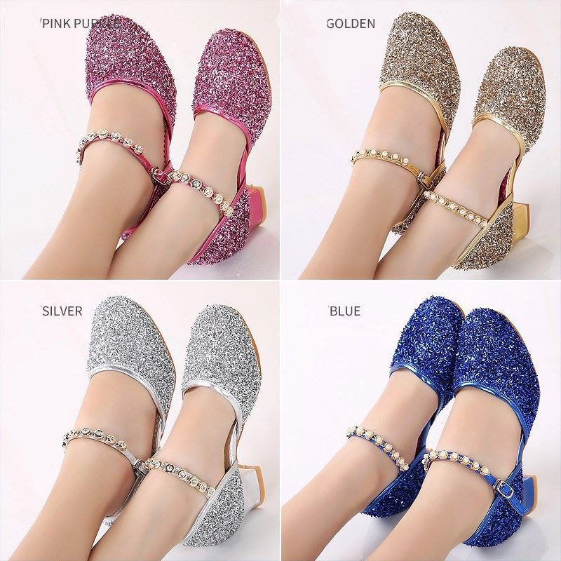 Kid Shoes Princess Baby Girls Sandale Glitter Children Shoes Rhinestone Ballroom Latin Tango Dance Shoes Heeled Shoes Sandale