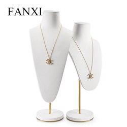 Oirlv Weiß Halskette Display Stand Büste Mannequin Modell Halskette/Anhänger Büste Halter mit Metall Rack