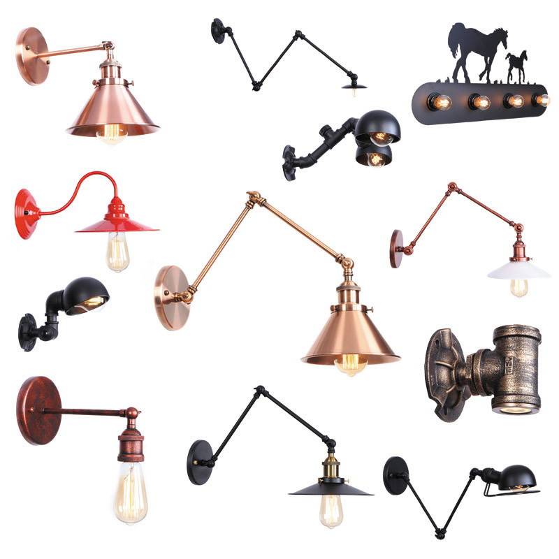Simple Wall Lamp Vintage Iron Flexible Black/White Multiple Style Retro Decorative Lamps For Living Room Bedroom Bathroom
