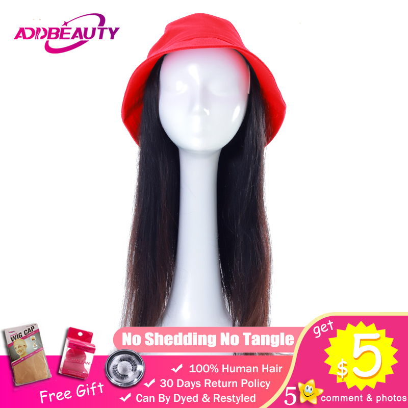 Red Bucket Baseball Cap Wig Hat Natural Connect Color Brazilian Straight Remy Human Hair Extension Adjustable For Girl Party