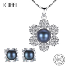 DOTEFFIL Hot Sale 925 Silver Pearl Jewelry Set Earring/Necklace Zircon Inlay Women Natural Freshwater Party Gifts