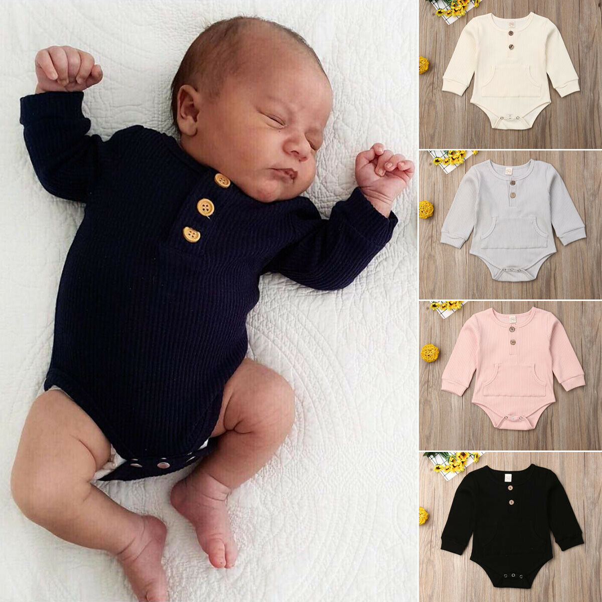 Pudcoco Newborn Infant Baby Boy Girl Bodysuit Cotton Soild Jumpsuit Long Sleeve Playsuit Clothes Spring 2020 New Outfit