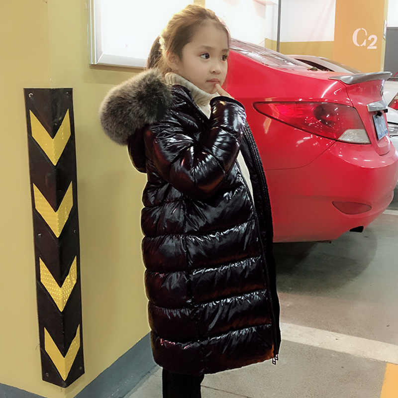 OLEKID -30 Degrees Warm Down Jacket For Girls Fox Fur Kids Girls Winter Jacket 2-12 Years Teenagers Coat Children Boys Outerwear