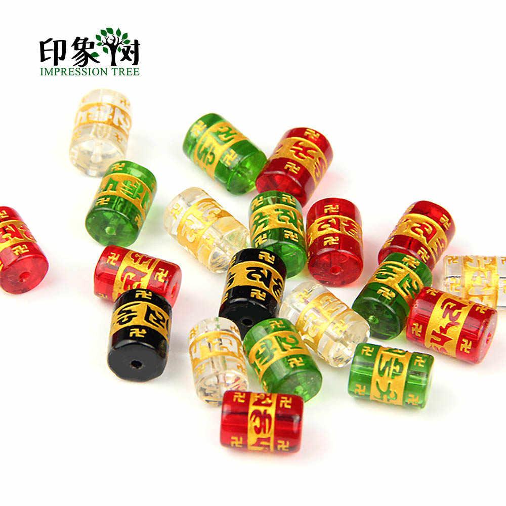 1 pc 12*8mm preto claro verde vermelho cristal budismo om mani padme hum mantra grânulo pulseira diy jóias makings 2900
