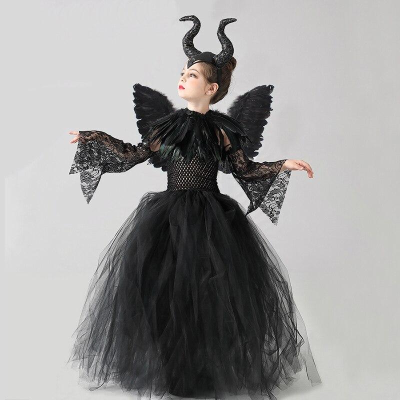 Kids Black Devil Tutu Costume Gothic Halloween Girls Fancy Tutu Dress with Feather Shawl Royal Dark Queen Maleficent Gown Dress (8)