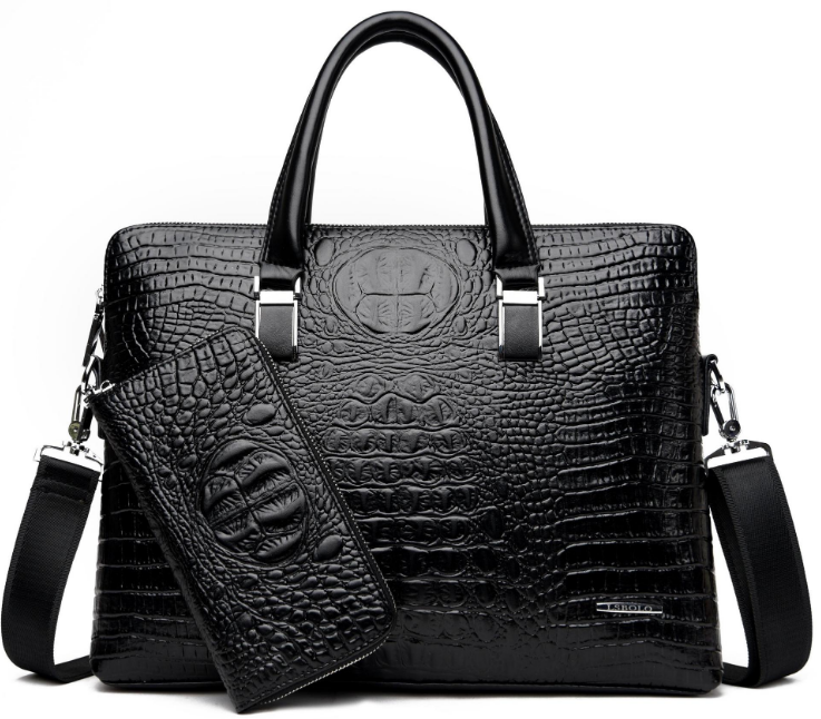 Classic Crocodile Pattern Men Briefcase Shoulder Crossbody Leather Bag Dapper Mens Hangbag With Small Bag Bolso Hombre DF374