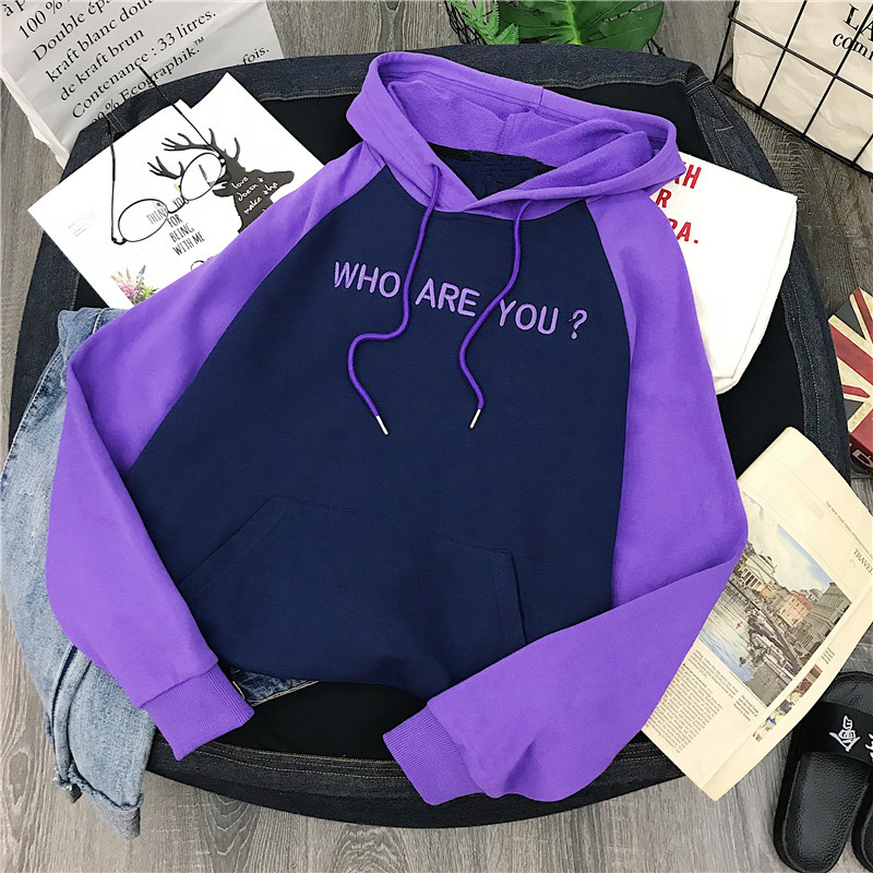 2019Winter Letter Printing Hoodies Women's Sweatshirt Long Sleeve Purple Girl Pullovers Loose Hooded Feminine Itself Thick Hoody