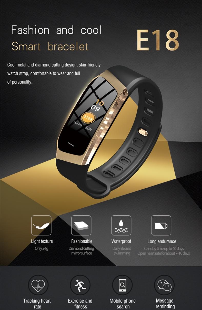 Hf488f9120236480899932082c3987f78q E18 Smart Bracelet Blood Pressure Heart Rate Monitor Fitness Activity Tracker smart watch Waterproof Men Women Sport wrist band