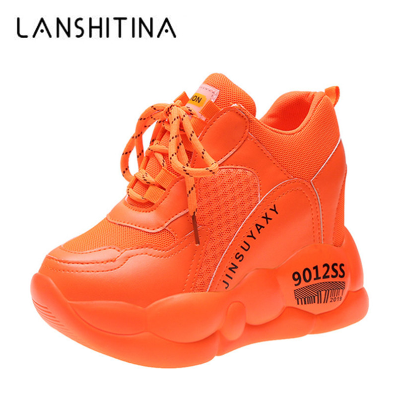 2019 Autumn Candy Color Women Platform Sneakers 10CM High Heeled Invisible Increase Casual Shoes Woman Wedges Chunky Sneakers