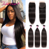 Brazilian Straight Human Hair bundles With Closure Swiss Lace 3 Bundles With Closure Ali Julia Remy Hair Weave with Lace Closure