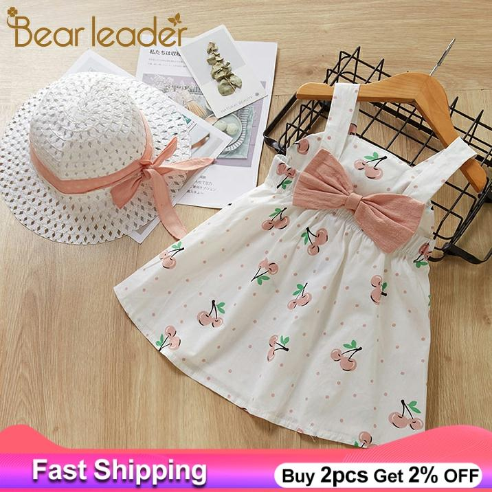 Baby Girls Dress 2020 Summer Girl Kids Sleeveless Print Floral Birthday Party Princess Dress With Hat 2Pcs Toddler Girl Clothes